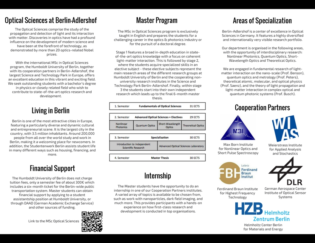Master Optical Sciences - Humboldt University - Flyer Back