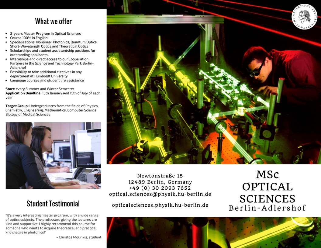 Master Optical Sciences - Humboldt University - Flyer Front